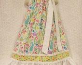 Girls Easter Dress 6/7 Springtime Bunnies Birds Flowers Boutique Handmade Pillowcase Dress Pillow Case Dress Sundress