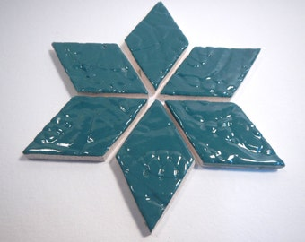 Teal Diamond Mosaic Tiles