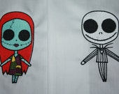 Jack and Sally Machine Embroidered Quilt Blocks