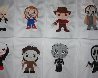 Horror Movie Machine Embroidered Quilt Blocks Set