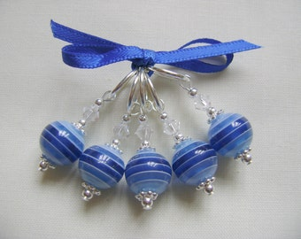 Blue Stripe Acrylic Stitch Markers for Knitting or Crochet