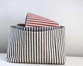 Storage Basket - Rectangular Striped Ticking Fabric Basket -  12 Colors and 3 Sizes