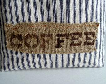 Blue Ticking Striped Fabric Basket - Coffee