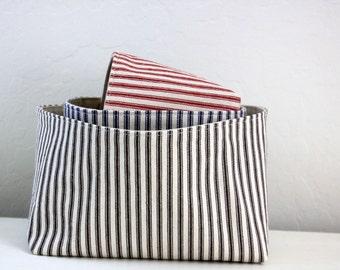 Storage Basket - Rectangular Striped Ticking Fabric Basket -  11 Colors and 3 Sizes