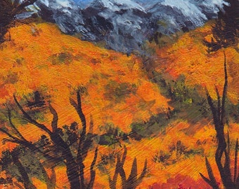 Original ACEO Autumn Landscape Collectible Painting Golden grasses Snow Capped Distant Mountains Blue Skies White Clouds Free US Shipping
