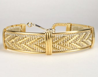 Made In Alaska 14K Gold Filled & Argentium Sterling Silver Woven Wire Wrapped Bracelet
