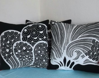 Black and White Graphic Pillow Cover 18x18