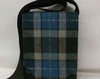 Blue & Brown Plaid Wool Mini Messenger Bag