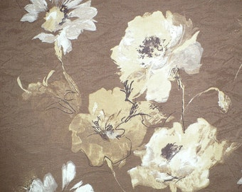 """Floral print Decorator fabric, Cocoa, Cream, Gold, Upholstery, Decorating, 58"""" wide"""