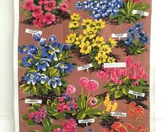 Linen Tea Towel Alpine Flowers Ulster GORGEOUS