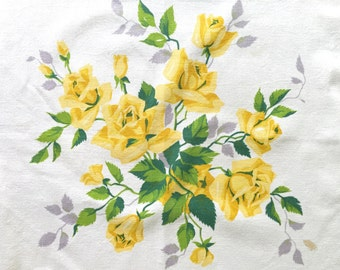 Vintage Wilendur Tablecloth Yellow Rose Flower Bouquets Square Table Cloth