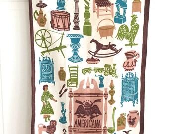 Linen Tea Towel Carl Tait Americana Sign Cigar Store Indian Bald Eagle Antiques