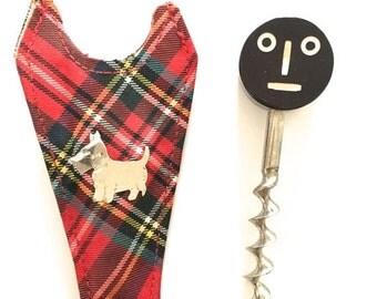SALE 20% OFF NON-Linens Vintage Corkscrew Bakelite Smiley Face Plaid Scottie Dog Souvenir