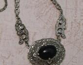 Antique 1920's Art Deco Sterling Marcasite Necklace, Art Deco Necklace, Sterling Onyx Marcasite Necklace (#2861)