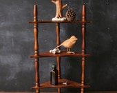 Curio Display Shelf Corner Table Top Wood Three Tier Spindle From Nowvintage on Etsy