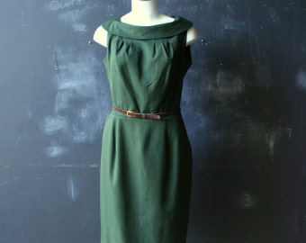 Vintage Dark Emerald Green Dress From the 80s to 90s Size 10 Valery Stevens From Nowvintage on Etsy