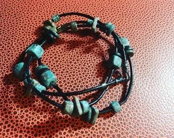 Modern Boho Triple Wrap Black Leather Gunmetal and Copper Patinated Ceramic Charm Bracelet