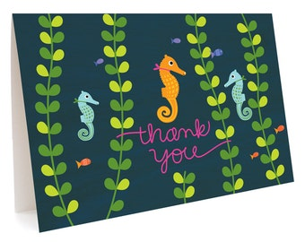 Seahorse Folded Thank You Cards, Box of 6 - Boxed Thank You Notes - Seahorse Thank Yous - OC1031-BX
