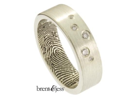 Scattered Diamonds Custom Fingerprint Wedding Band in Sterling Silver