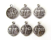 Antiqued Silver Ox Charm Dragonfly Drop Insect Nature Finding Round 10mm chm0375 (6)