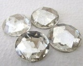 Vintage Cabochons Glass Clear Faceted Rauten Roses Round 15mm gcb0963 (4)