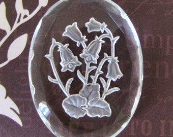Vintage Glass Intaglio Bell Flower Cameo Reverse Carved Frosted Floral Leaf 40x30mm gcb1159 (1)