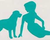 Labrador and Pin Up Silhouette, Aqua Vinyl Decal