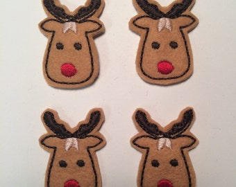 Reindeer Red Nose Christmas Embroidered Felt Applique