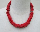 Cherry Red Chunky Boho Necklace, Heishi Beads