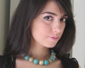 SALE Turquoise Gold Pearl Mesh Choker Chunky Necklace Choker