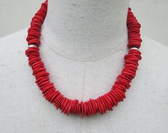 Cherry Red Chunky Boho Necklace, Heishi Beads