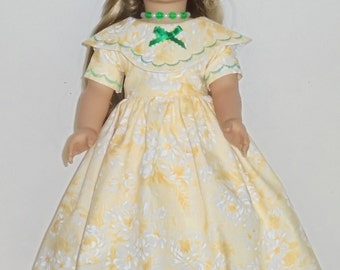 Southern Bell style summer dress and necklace designed for American Girl 18 inch doll   No. 671