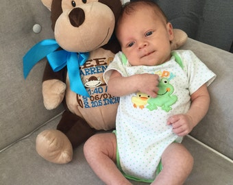 personalized stuffed plush monkey, personalized plush, personalized plush, stuffed animal, monkey, keepsake, baby gift, Embroider Buddies, E
