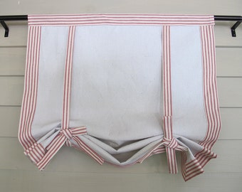"Red Ticking 48"" Long Roll Up Window Shade Mitered Banding Tie Up Rolled Curtain Modern Farmhouse"