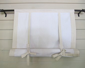 """Tan Ticking 60"""" Long Roll Up Window Shade Tie Up Curtain Mitered Banding Tie Up Rolled Curtain"""