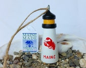 "Lighthouse Lobster Ornament, Christmas, Holiday, Coastal, Nautical, Stocking Stuffer, Gift, 2 3/4"" tall"