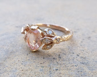 Peach sapphire leaf ring.  Engagement ring with leaves. 14k rose gold with peach Sapphire and diamonds.