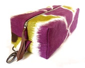 dopp kit - purple and green linen ikat print with waxed canvas lining