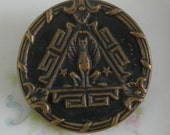 Vintage Metal Picture Button - Winged Griffin Picture Button - 1 1/4 inch