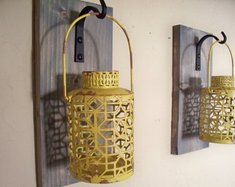 Rustic yellow lantern pair (2) wall decor, bedroom wall decor,  wall sconces, housewarming gift, wrought iron hook, rustic wood boards