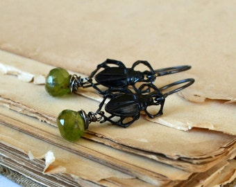 Gothic earrings, wire wrapped Vessuvian bead, sterling silver and brass earrings