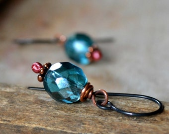 Romantic glass and copper earrings, boho earrings, romantic gift, rustic jewelry - Kiss the Sky