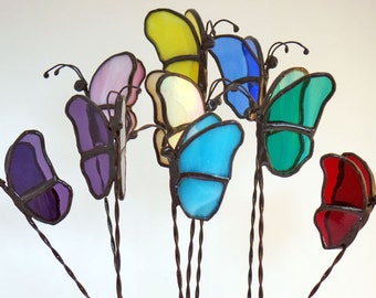 Butterfly, Plant Stakes, Stained Glass, Plant stick, Window box, Garden Art