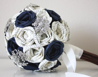Navy Blue Book Page Rose Bouquet