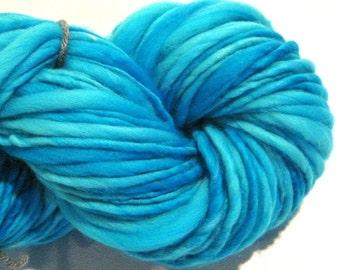 Handspun Yarn Almost Solid Turquoise 132 yards hand dyed merino wool turquoise  yarn waldorf doll hair knitting supplies crochet supplies