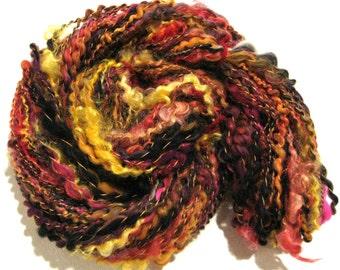 handspun yarn Solar Flare 60 yards red orange black yellow pink yarn thread plied art yarn sparkly yarn knitting supplies waldorf doll hair