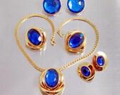 Blue Pendant Necklace,  Rhinestone,  Lucite Earring Sets, Vintage 1970s