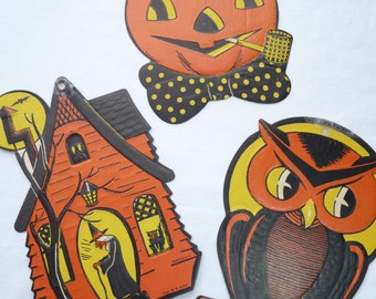 M.E. Luhrs Halloween Die Cuts, Beistle Die Cuts, Haunted House, Jack O Lantern, Owl Die Cut, Collectible Die Cuts, Halloween Decor, Embossed