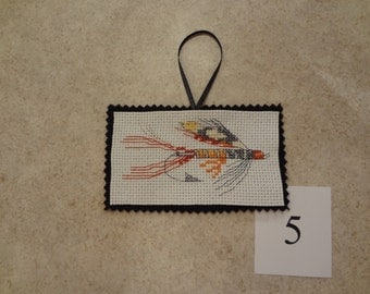 Fishing lure- ornament/magnet -cross stitched #5