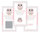 Set of 12 Scratch Off Game Cards for Baby Showers with Owl in Pink and Gray SC102